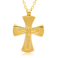 18K Gold Plated Religious Men's Stainless Steel Large Jesus Christ Crucifix Cross Pendant For Catholic Rosary Prayer Necklace