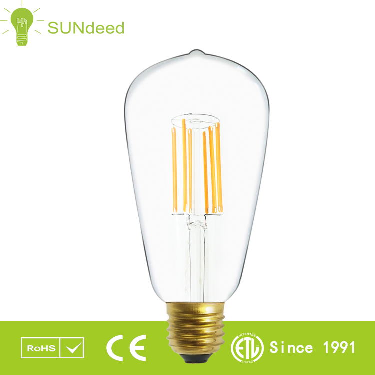 New design ST64 led filament bulb e27 sockets led filament lamp ,dimmable filament led bulb with CE ROHS ETL