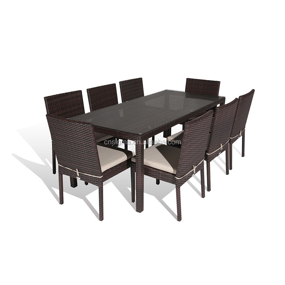 2017 Sigma Newest cheap pe rattan modern restaurant dining tables and chairs