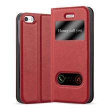 Luxury PU Leather Case With Double Window Back Cover For iPhone 5