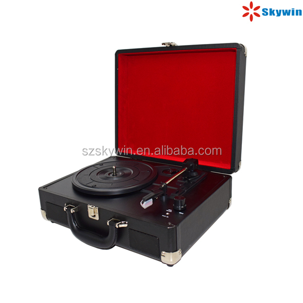 Portable 3 Speeds Vinyl Turntable Record LP Player with Built in rechargeable Battery Optional