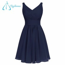 Simple Chiffon A Line V Neck Pleats Short Navy Blue Bridesmaid Dress