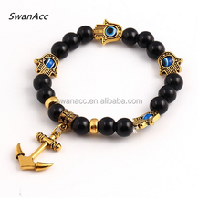 Summer Style Good Luck Hamsa Hand Fatima Anchors Beads Bracelet For Women Charm Trendy Classic Jewelry