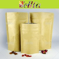 Reusable Clear Stand Up Kraft Paper Bags With Zipper Top & Tear Notch