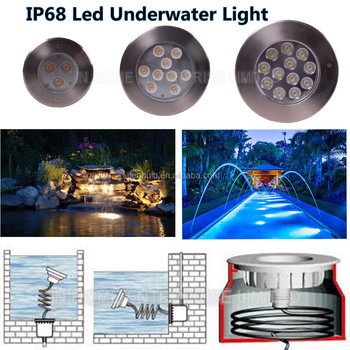High quality 9W decorative light IP68 LED underwater light for Pool/fountain/garden