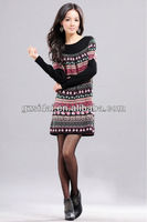 2013 New fashion design loose with tight printed nice knit sweaters from korea