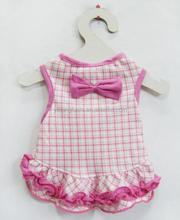 Wholesale Pet Dog Cat Clothes Pink Bow Plaid Dress Size L Apparel 100% Cotton Dress