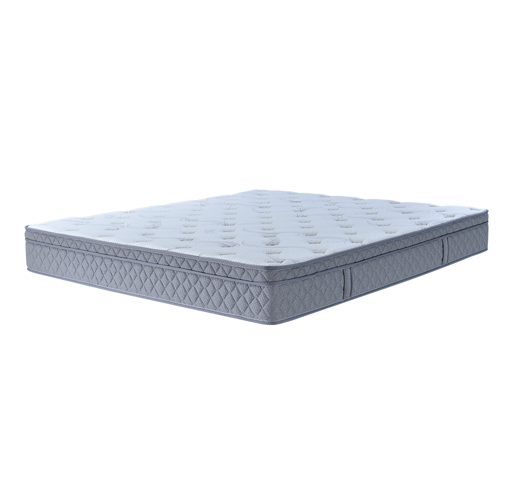Grey and white Queen size Latex foam pocket spring roll packing mattress Euro Top - Jozy Mattress   Jozy.net