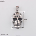 Biker Jewelry Mens Heavy Skull Pendant W/Star