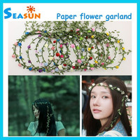 Bridesmaid Boho Floral Flower Festival Wedding Forehead Head Hair band Garland Assorted Colors