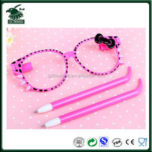 Newest Kids fancy eyeglasses shaped ball pen/eyeglasses pen