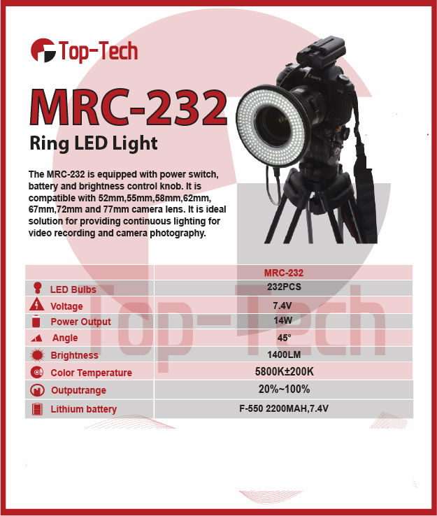 Top-Tech MRC-232 Ring LED Light