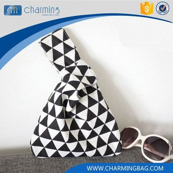 Most popular unique design black and white geometric patterns burlap storage bags
