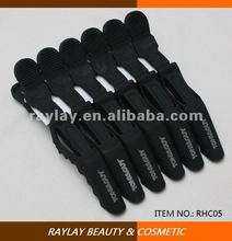 6 pcs high quality black matte carbon static free hair salon crocodile clip for hairdressing