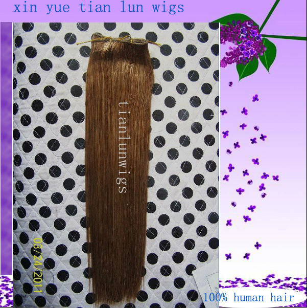 Free shipping Wholesale 100% Indian virgin human hair 16 inch Silky straight Dark brown hair extension accept customer order