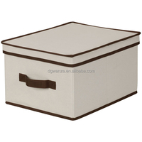 Collapsible fabric storage bin with lid