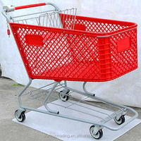 210L plastic shopping trolley with lock