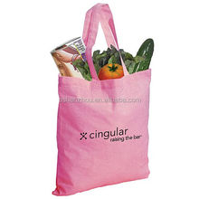 Nice quality promotional custom logo print 100% cotton shopping large pink canvas tote bags