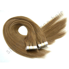 "Grade 5A-8A 18"" -30""brazilian Remy soft smooth straight thick blue glue Tape Hair extension / PU Skin Weft Any Color"