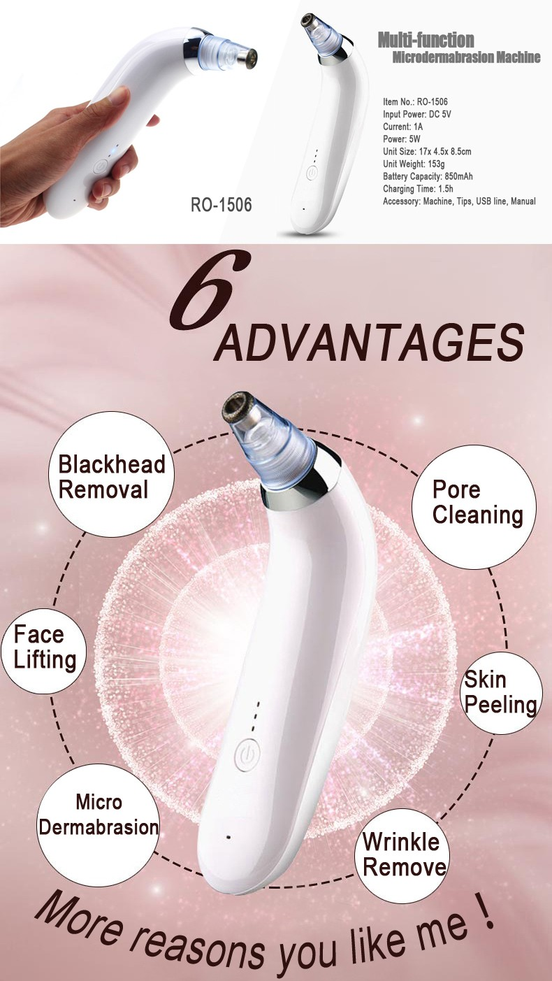 Portable spa diamond microdermabrasion blackhead remover machine