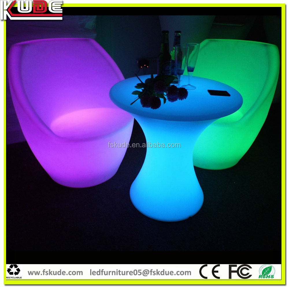 illuminated round shape cheap outdoor plastic tables with LED