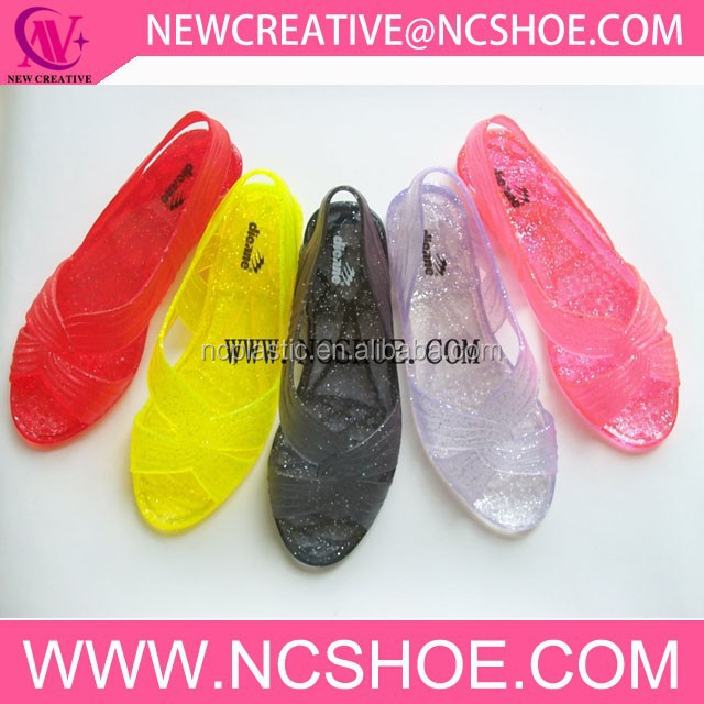 summer fashion glitter crystal peep toe pvc women jelly sandal shoes