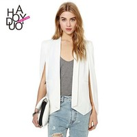 HAODUOYI 2015 New Champagne Women White Cloak Style Jacket Unique Design Blazer for wholesale