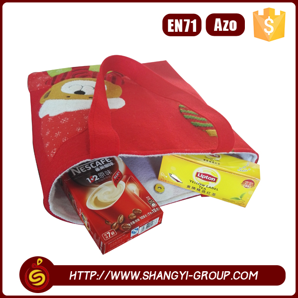 Hot sell high quality polyester felt Christmas reusable folding shopping bags with santa or snowman or bear or tree pattern