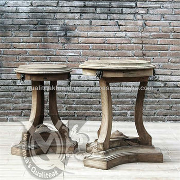 Antique French Country Side Table Pedestal Style With Distressed Finish
