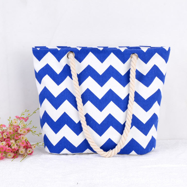 Cheap wave stripes canvas rope handle tote beach bag wholesale