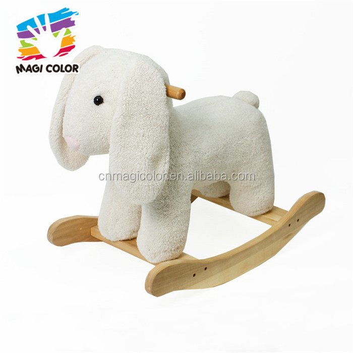 Wholesale lovely rabbit style wooden plush rocking horse toy for baby W16D112