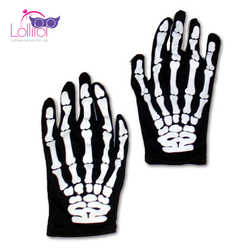 Halloween costume accessories skeleton gloves wholesale skulls printed decorating gloves
