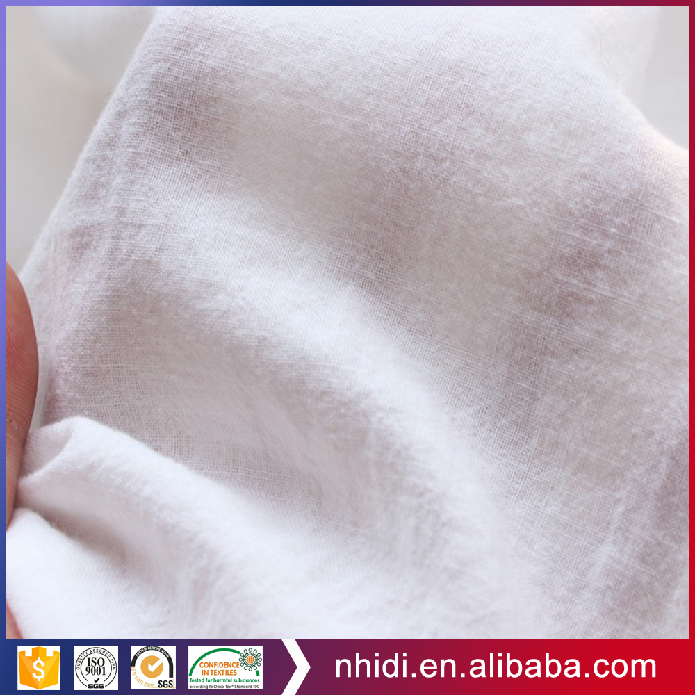 soft handfeel white 100% cotton crepe fabric for shirting dress