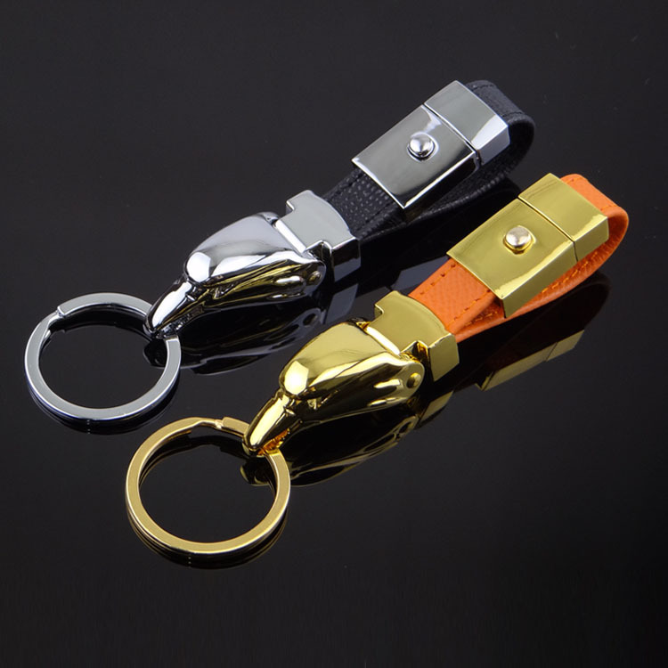 high quality leather high-end Bag car key chain with epoxy logo