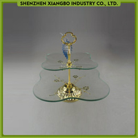 Flower shaped glass 2 tier cake stand / wedding cake stand crystal