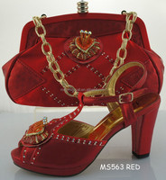 women shoes Italian Shoes With Matching Bags High Quality For party Italy designer Shoes And Bag For Evening MS563 RED