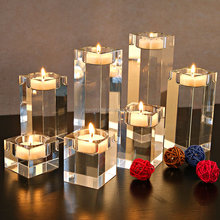 Crystal Cut Glass Candle Holder /Thick Candle Centerpieces, Glass Flat Candle Holder