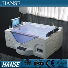 HS-B313A rectangular indoor tv sex whirlpool massage bath tub with tv