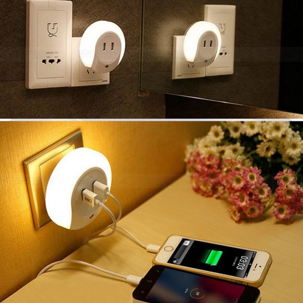 EU/US Plug 2016 New Design LED Night Light with Light Sensor and Dual USB Wall Plate Charger