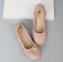 Colorful micro fiber round toe lady flat shoes