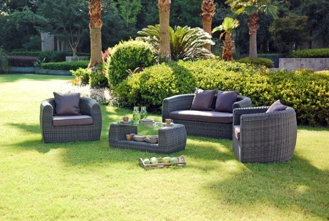Outdoor garden patio 4pcs aluminum wicker rattan furniture for Sofa exterior jardim