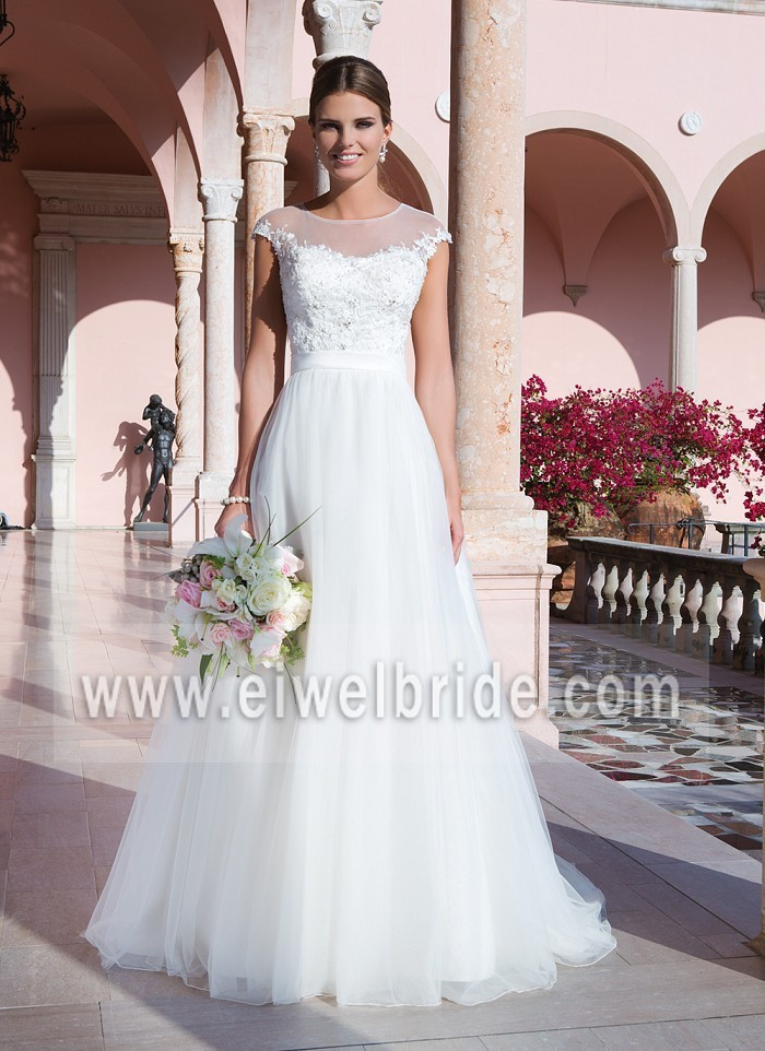 Graceful Sleeveless Appliqued Tulle Guangzhou Wedding Dress With Prices M109