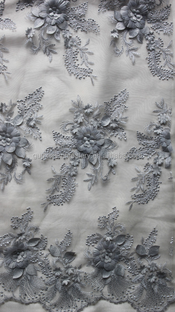 3D flower embroidery beaded lace manufacturer