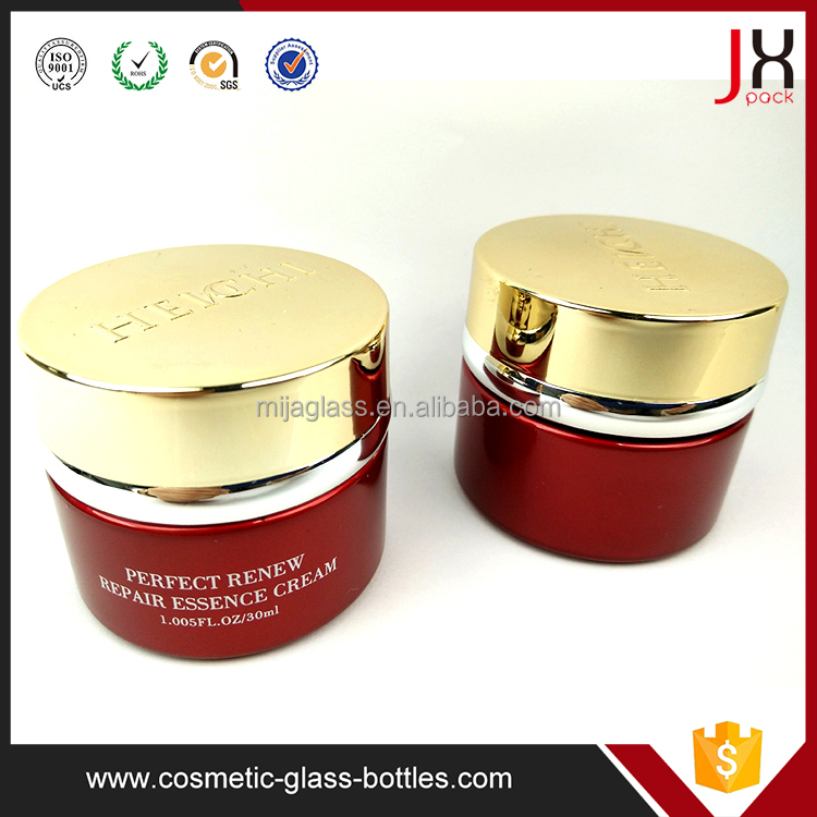 Round 30ml Cosmetic Cream Jar Glass Container With Gold Cap