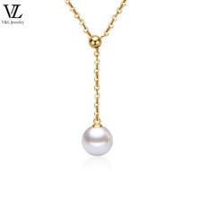 Gold/silver plated adjustable chain pearl jewelry elegant necklace