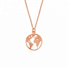 Customized personalized 18K gold plated dainty pendant necklace world map