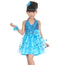 New arrival children's performance suits,Toddler girls modern sequins Latin dance skirt Puff skirt stage costume