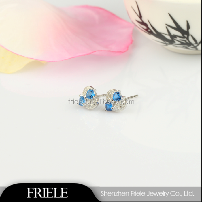 fashion heart BLUE costume 925 sterling silver stud earrings for girls