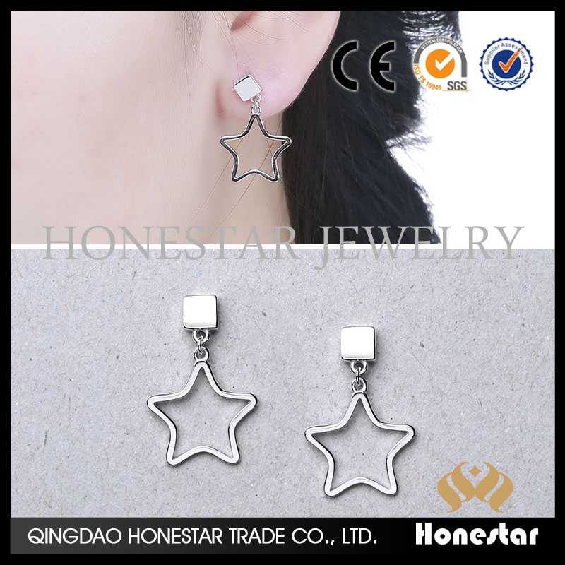 Dangler five pointed star earrings speed to sell beautiful earrings new fashion cheap earring studs
