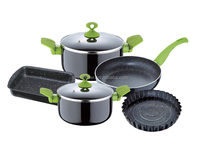7pcs Aluminum cookware set with stone coating,with 2pc bakeware